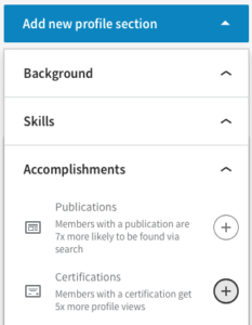 Add LinkedIn Certification